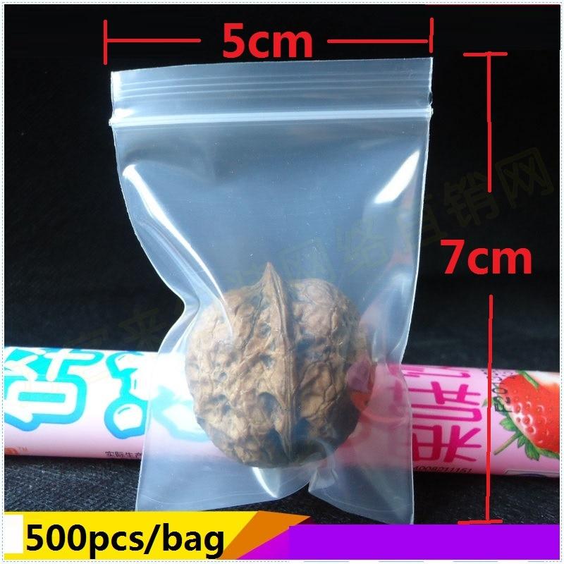 [4Y4A] 500pcs/bag 5cmX7cm Mini Plastic Metal Accessories  Bag Stationery PE Jewelry Bags Ziplock Bag