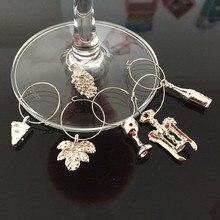 Амулеты для вина, модный дизайн, 6 шт., амулеты для винного стекла, кольца, маркер, вечерние украшения для барного стола
