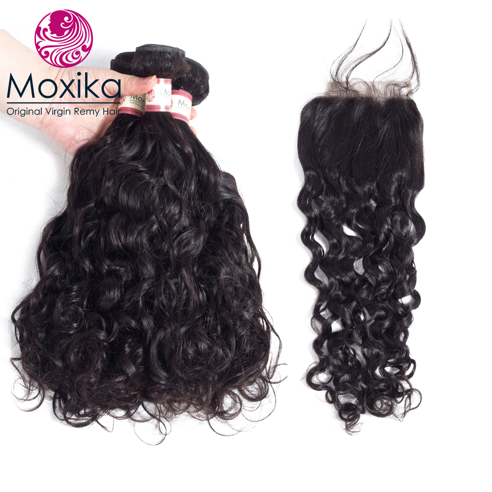 Amiable Moxika Indian Virgin Hair With Closure Water Wave 3 Bundles With Closure Unprocessed Virgin Indian Hair Natural Color Hair Extensions & Wigs 3/4 Bundles With Closure