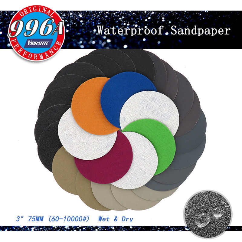 "3/"" 75mm Hook /&Loop Abrasive Sanding Discs Wet /&Dry Round Sandpaper 60-10000 Grit"