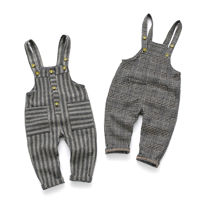 Spring Autumn Baby Boy Girl Jumpsuit Cotton Stripe Plaid Overalls Kids Fashion Pocket Bib Pants Trousers Toddler Baby Jumpsuit stripe panel plaid bodycon skirt