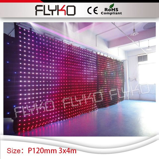 Black Stage Background Decoration Flexible LED Curtains Display Cloth For  Wedding Party PH12cm 10ft High By