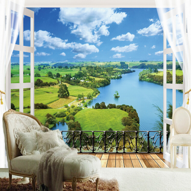 Custom any size nature landscape window 3d wall mural for Custom size wall mural