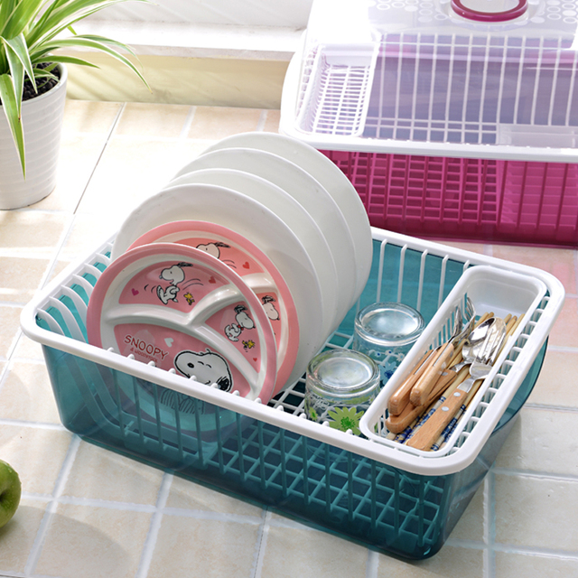 Drain Kitchen Cupboards Plastic Chopsticks Dinnerware Dish Rack Storage Box With Lid Put Drip