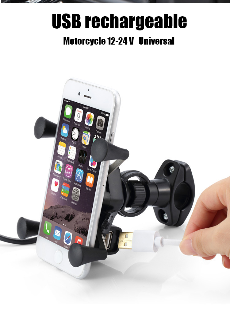 Motorcycle Octagonal Phone Stand Conventional Plastic Mirror Holder Does Not Charge