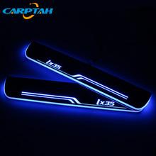 CARPTAH wykończenia pedał części samochodowe zewnętrzne LED nakładka na próg ścieżka drgań dynamiczny światła dla Hyundai IX35 2010-2018 2019 tanie tanio For Hyundai IX35 2010-2019 500G Akrylowe Decoration Dynamic Streamer Welcome Lamp Scuff Plate Chiny Car Threshold Door Sill