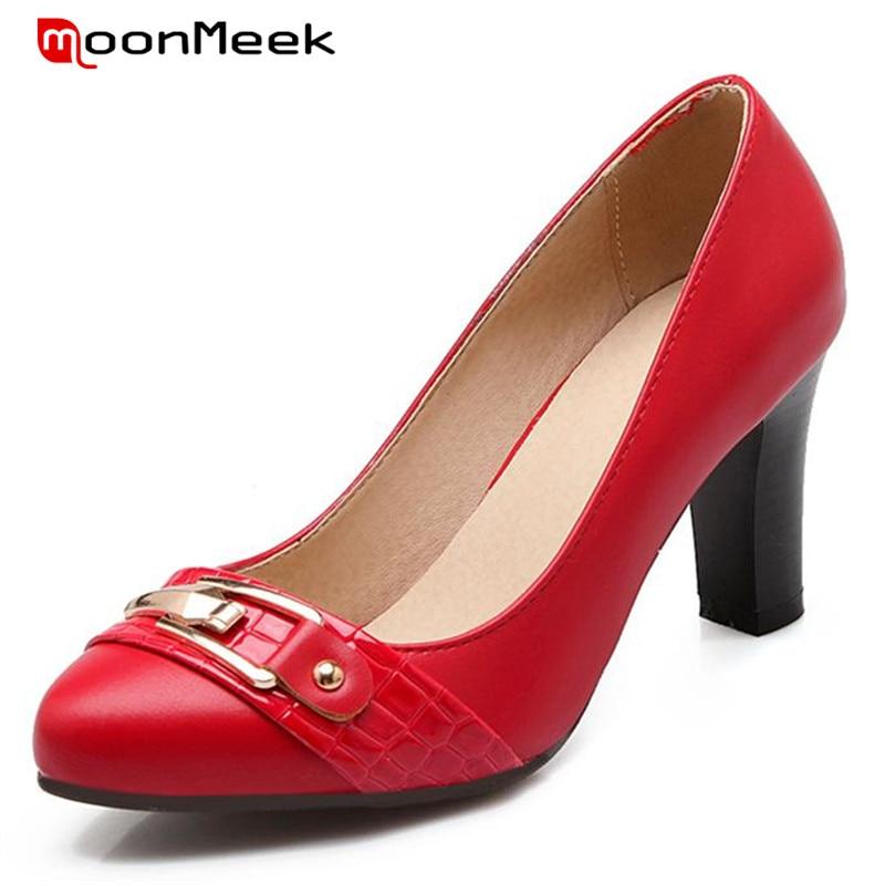 ФОТО MoonMeek Metal decoration women shoes high heels shoes big size 34-43 fashion elegant party single shoes pumps four seasons
