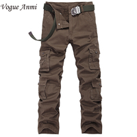 Vogue Anmi.Promation fashion high quality winter cargo pants mens many pockets pants cotton plus size 30-40 army pant,1308#