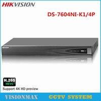 HIKVISION 4K PoE 4CH NVR DS 7604NI K1 4P H 265 Up 8MP IP Camera VCA