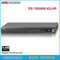 HIKVISION 4K PoE NVR DS 7604NI K1 4P 4CH POE H 265 Embedded Up To 8MP