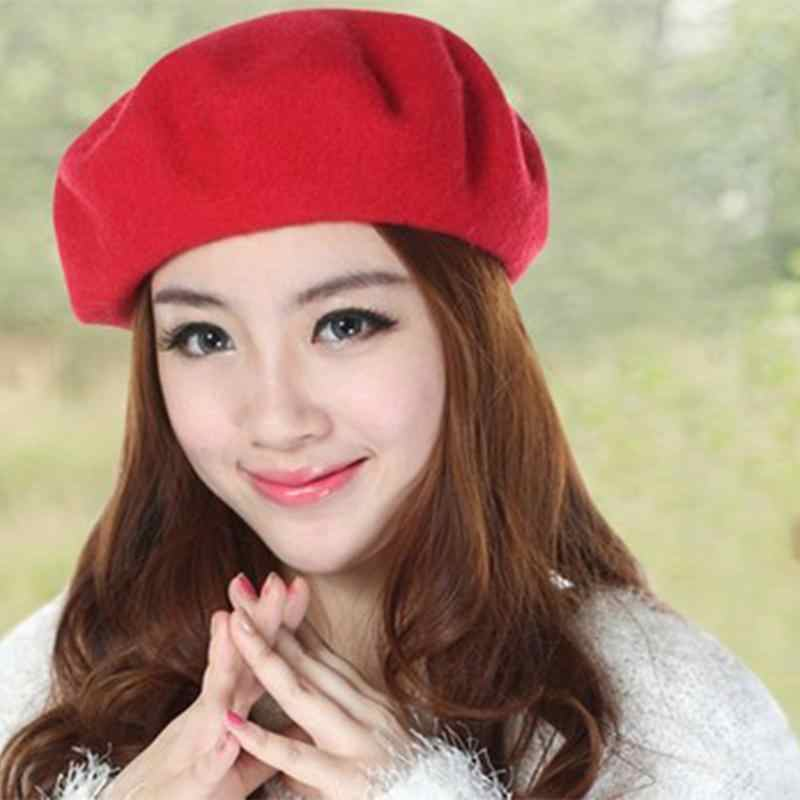 61a02079 MISS M Solid Color Women's Beret Romantic French Artist Warm Wool Winter  Girl's Beanie Hat Cap