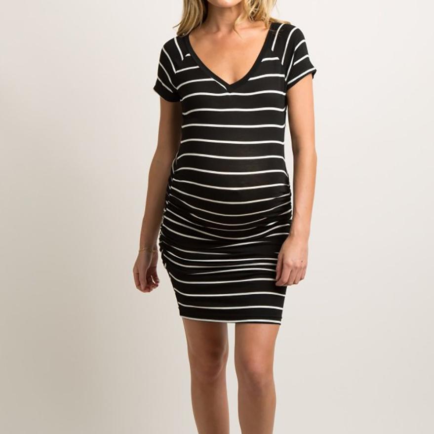 Pregnant Dress Women Stripe Maternity Short Sleeve Nursing Boho Mini Dress Pregnant Women 18Jun28