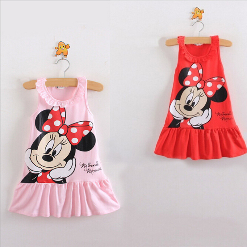 New2016 Baby Girl Summer Dress Tjejer Minnie Mouse Pink Red Dress Tjej Casual Fashion Kids Kläder Party Dress