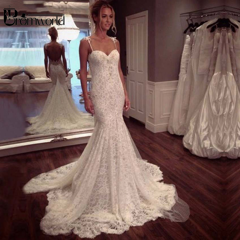 2019 Sexy Mermaid Wedding Dresses Sweetheart Spaghetti Straps Elegant Lace Backless White Bridal Gown Vestidos de Noivas