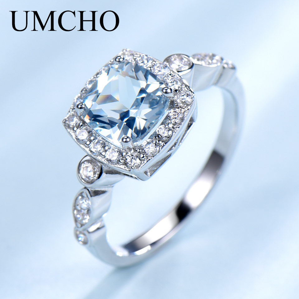 UMCHO  Real S925 Sterling Silver Rings for Women Blue Topaz Ring Gemstone Aquamarine Cushion  Romantic Gift Engagement Jewelry-in Rings from Jewelry & Accessories on Aliexpress.com | Alibaba Group