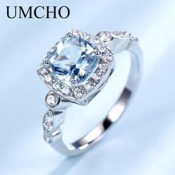 Umcho реального S925 серебряные кольца для женщин голубой топаз кольцо драгоценный камень Аквамарин подушки романтический подарок