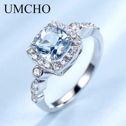 Umcho real s925 anéis de prata esterlina para mulher azul topázio anel de pedra preciosa aquamarine almofada romântico presente noivado jóias