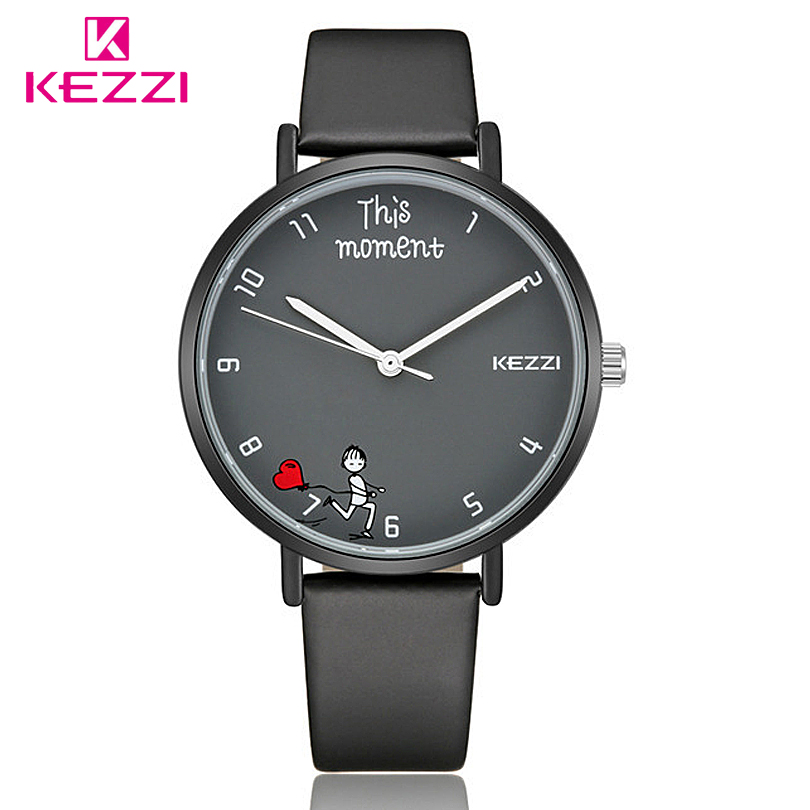 KEZZI Lover Wristwatches Women Fashion Leather Quartz Watch Couple Creative Dial Watches Men Business Unisex Clock 2018 keep in touch couple watches for lovers luminous luxury quartz men and women lover watch fashion calendar dress wristwatches