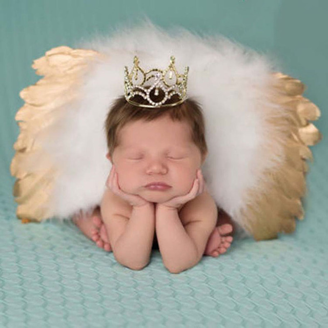 Baby newborn photography props infant girls boys angel feather wings set leaf headbands photo props