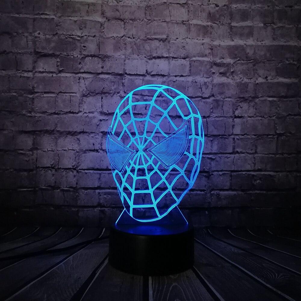 New Marvel Cartoon Figure 3D Spiderman RGB Night light Home Decor Baby Bedroom Illusion Childrens lighting Lamp Christmas Gift