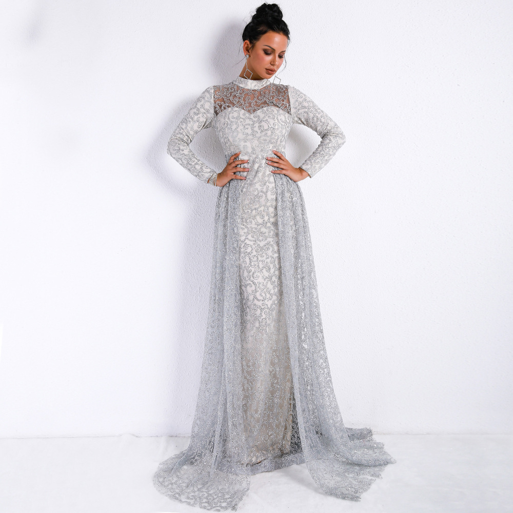 Vintage High Neck Long Sleeve Geometric Sparkling Vestido Floor Length Bride Dress For Women Long Party Dress vestidos de fiesta