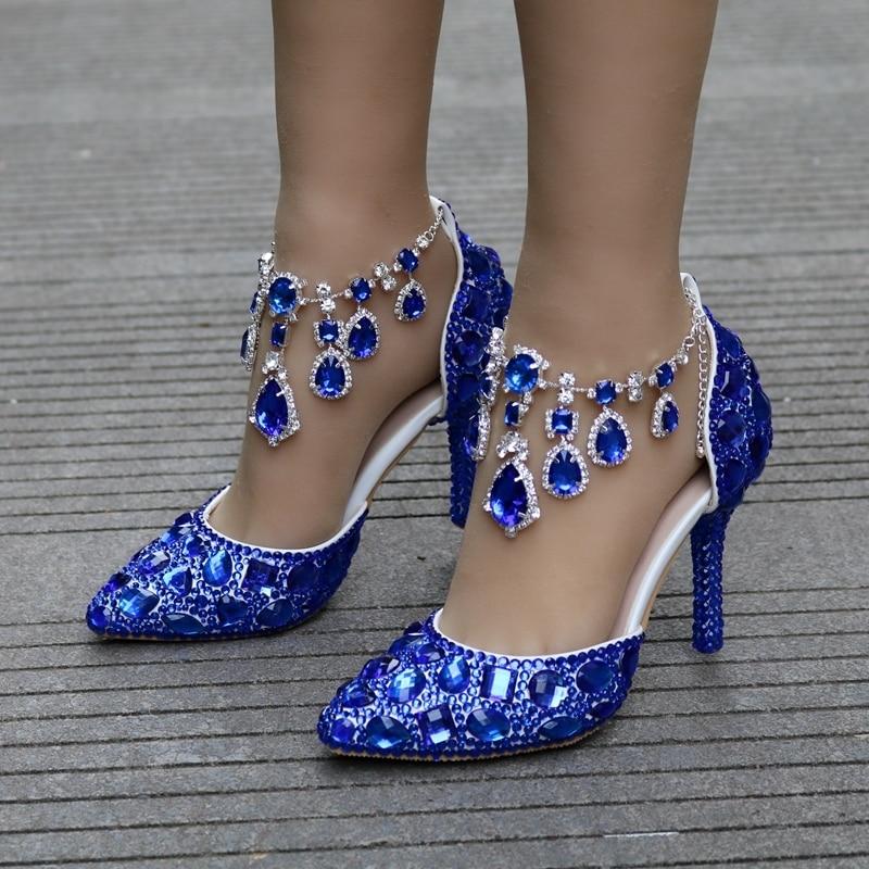 911d6e2b Correas royal Heels Estrecha Royal Lujo Estilo Cristal Partido Zapatos  Sandalias Boda Gold Con Heels Blue ...