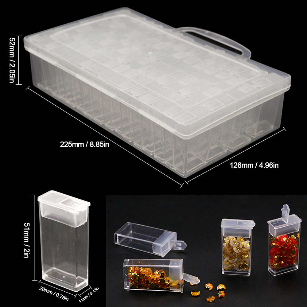Storage Organizer 36 Removable Slots Jewelry Storage Box Plastic Semi-Transparent Classify Organization Case for Storage and Classify Some Small Items