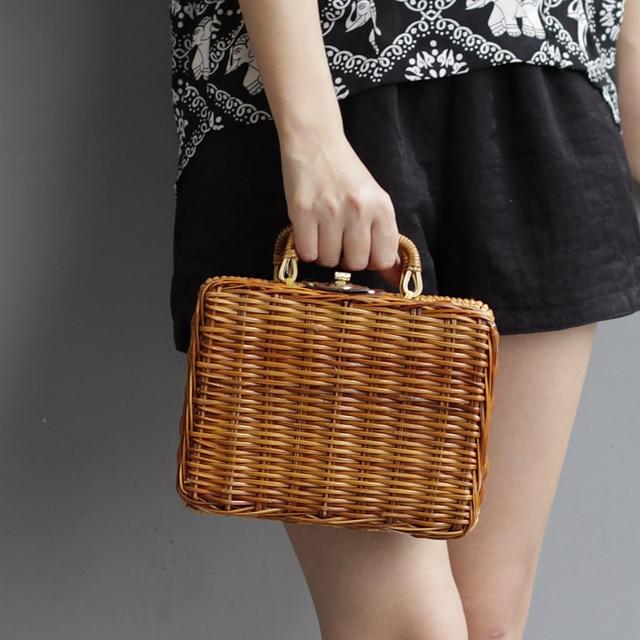 d269fae2c7 Fashion Summer Straw Weave Women s Handbags Retro Box Trunk Scarf Lunch Bags  Beach Package Small Bags