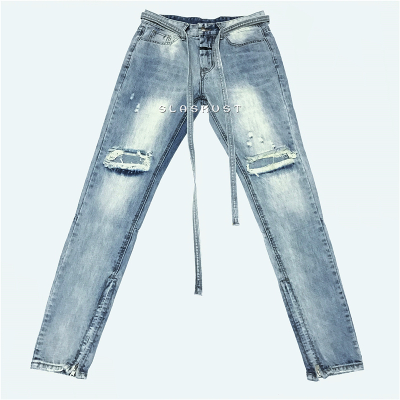 Kanye West Distressed Slim Belted Jeans In Light Blue Men Ankle Zips Knee Holes Biker Jeans Streetwear