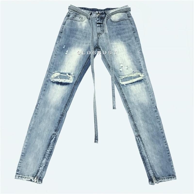 Kanye West Distressed Slim Belted Jeans In Light Blue Men Ankle Zips Knee Holes Biker Jeans Streetwear