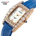 Longbo mujeres de lujo mejor calidad correa de cuero rhinestone reloj de las mujeres relojes moda casual reloj de cuarzo relogio horas