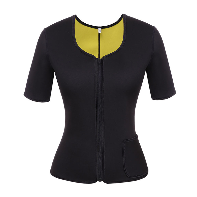 Neoprene Waist Trainer Sweat Body Shaper Shirt Hot Shapers Thermo Slimming Sauna Suit Weight Loss Black Shapewear with Sleeves