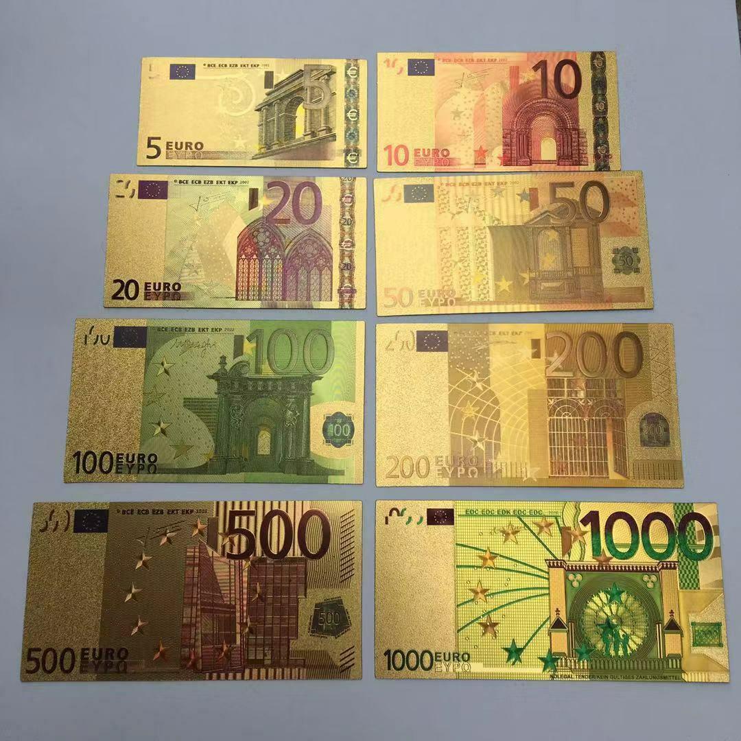 8 шт./компл. евро банкноты Золотая фольга бумажные деньги коллекция банкнот валюта