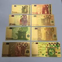 8 pc/set euro notas de ouro folha de papel dinheiro artesanato coleção nota bancária moeda