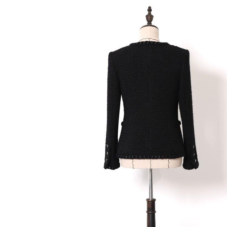 ใหม่ WT0001 ลมมีกลิ่นหอมเล็กๆฤดูใบไม้ร่วงฤดูหนาวผู้หญิงสวมใส่สีดำขนสัตว์ heavy duty tweed สั้นความหนา-ใน แจ็กเก็ตแบบเบสิก จาก เสื้อผ้าสตรี บน   3