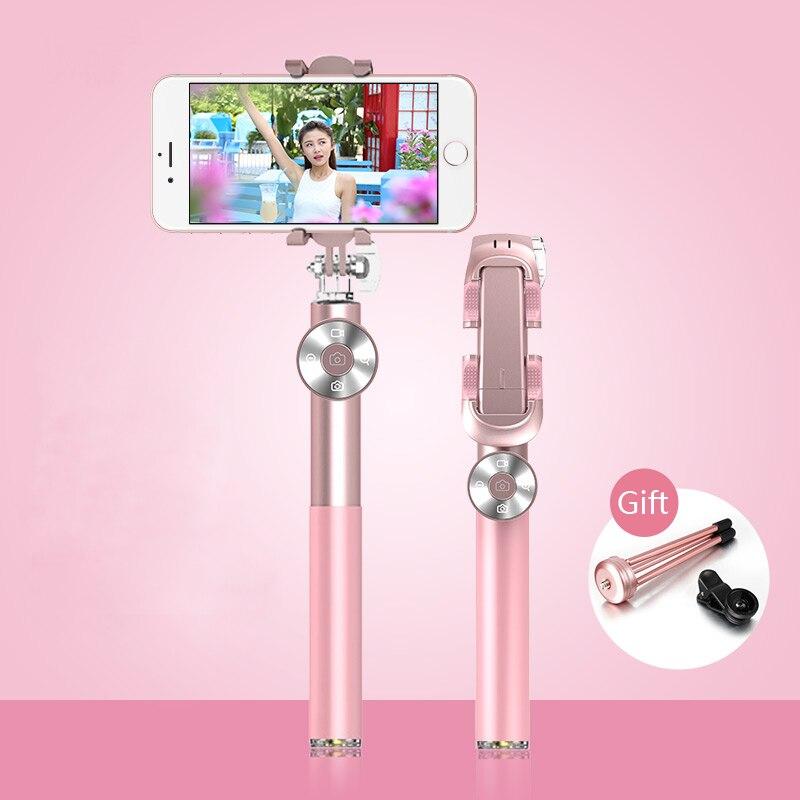37 pouces Bluetooth Contrôle Selfie Bâton Monopode avec cadeau Trépied pour Xiaomi Smartphone iphone 6 7 X Extensible En Cuir Poignée