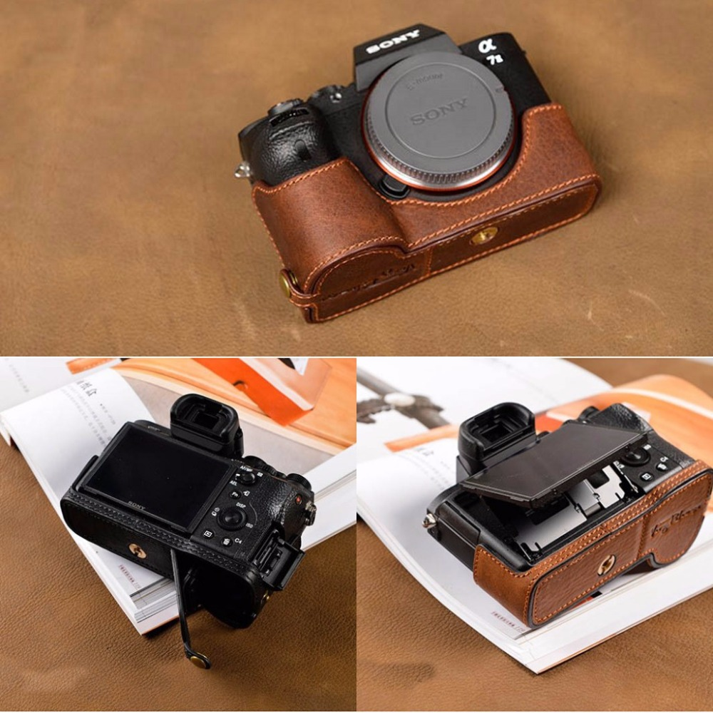 [VR] Handmade Genuine Leather Camera Case Bag Half Body Cover For Sony A7R2 A7M2 A7 II A7 Mark II [vr] brand handmade genuine leather camera case for sony a7ii a7 mark 2 a7r2 a7r ii camera bag half cover handle vintage case