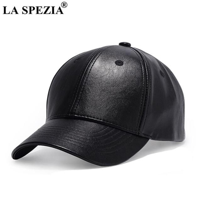 8082f8ff6500a LA SPEZIA Black Baseball Cap Men Adjustable Leather Baseball Caps Women  Duckbill Casual Solid Peaked Caps Autumn Classic Dad Hat