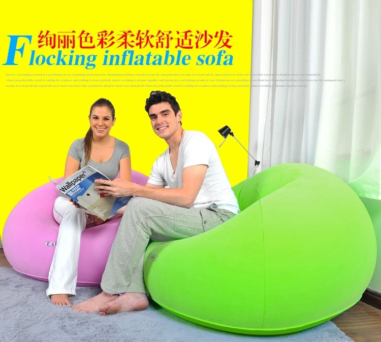 105X105X65CM Lazy sofa outdoor creative tatami sofa velvet green inflatable sofa cushion chair, green and pink man adults seats free shipping hot sale lazy man instant sofa