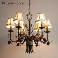 American country retro iron antlers chandelier living room dining room bedroom Nordic creative birds Chandelier free shipping