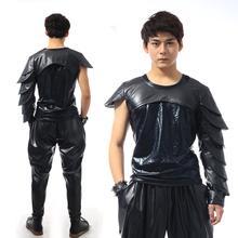 Men Dance Wear Shirt Nightclub Motorcycle Hiphop Punk Rock Male DJ Costumes Fashion Personality Gulps Half