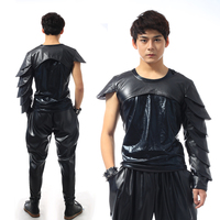 Men Dance Wear Shirt Nightclub Motorcycle Hiphop Punk Rock Male DJ Costumes Fashion Leather Gulps Half Leather Tops Outfit