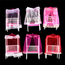 1PC Plastic Cot Bed with Bed Net Dollhouse Miniature Furniture for girl Dolls Color Randomly Kawaii Dollhouse Bedroom Decor(China)