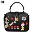 2016 new fashion embroidered square lock ladies bag designer inclined shoulder bag women handbag