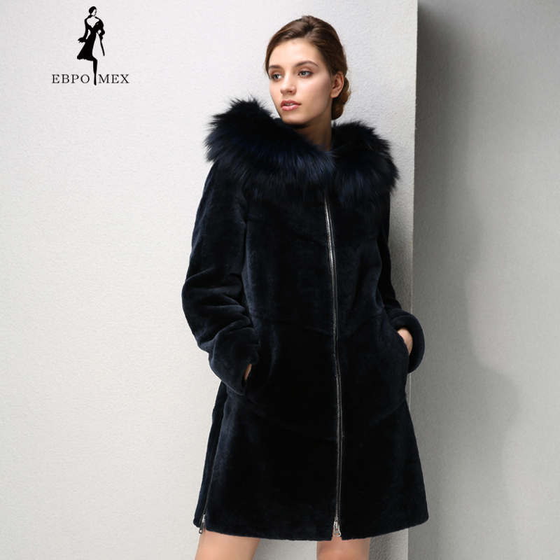 Осенью овцы пальто Женщины Mouton пальто с мехом, пальто с мехом лисы Мао полями, коричневый, синий, Дополнительно Меховые пальто новая тенденц