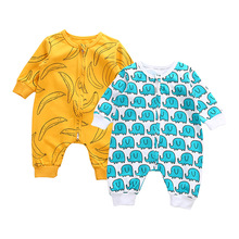 Outfits Jumpsuit Banana-Cloth Elephant Romper Little Girl Newborn-Baby Yellow Cute Cotton