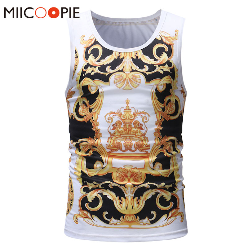 Summer   Tops   Men   Tank     Tops   Sleeveless 2018 Casual Vest 3D Print Luxury Gold   Tank     Top   Bodybuilding Shirt Mens Singlets