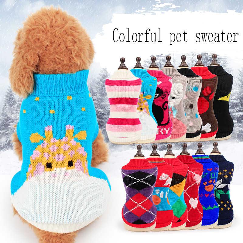 חיות מחמד כלב סרוג סוודר החורף חם כלב לכלבים קטנים צ 'יוואווה מעיל צרפתית בולדוג תלבושת פאג בגדי אקראי צבע