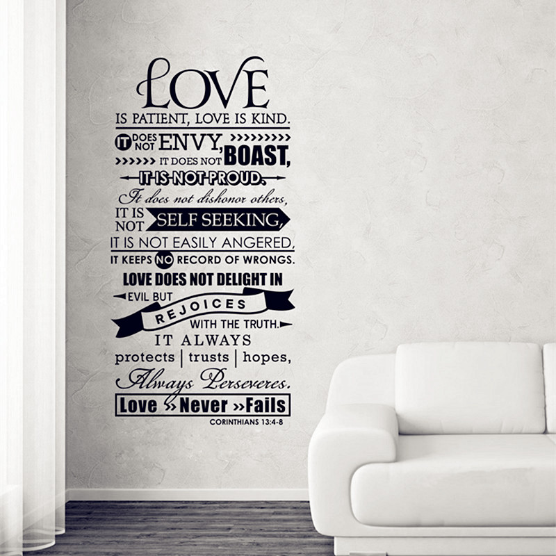 buy corinthians 13 christian wall decal love wall decal scripture wall decal. Black Bedroom Furniture Sets. Home Design Ideas