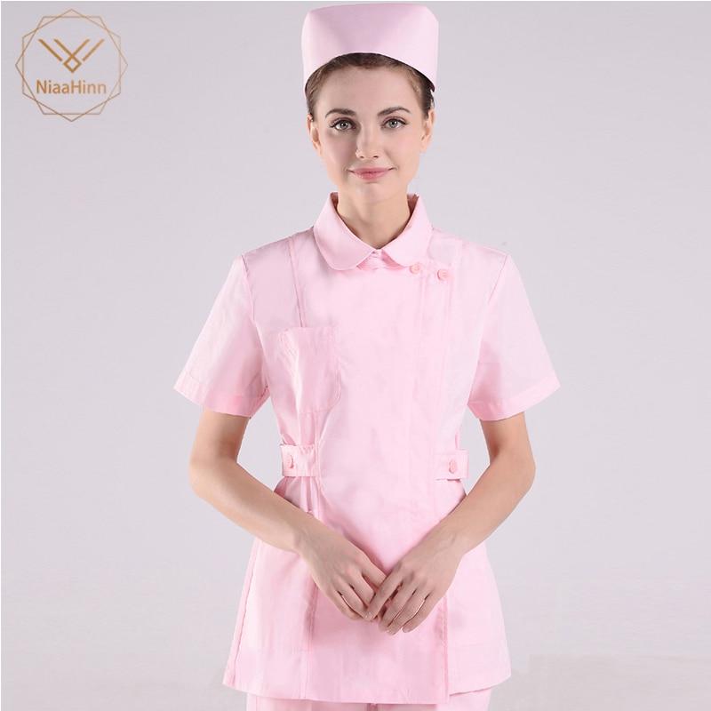 Pink Lab Coat Doctor Nurse Clothing Hospital Scientist School Fancy Dress Costume For Uniform Work Wear Adults Womens Scrub Sets